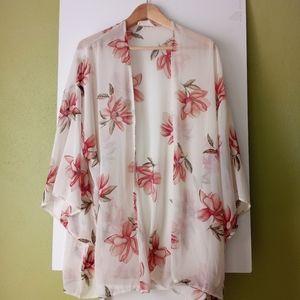 Peach Love California Sheer Floral Kimono Open